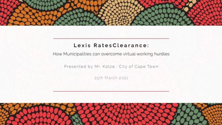 LexisNexis RatesClearance : Presented by Mr. Kotze